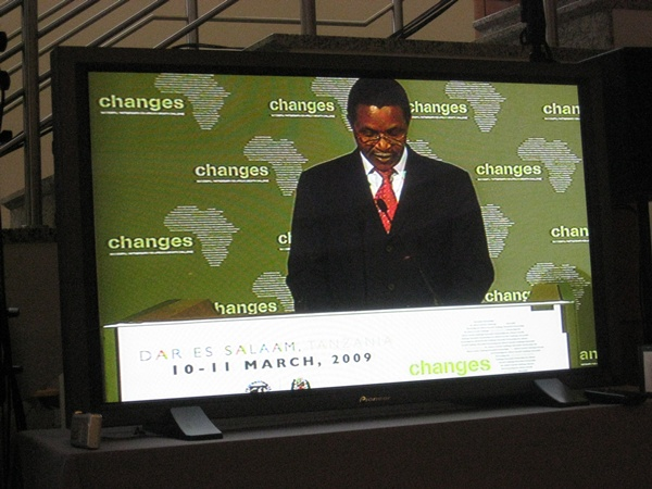 President Kikwete on screen at the Bank of Tanzania conference centre.